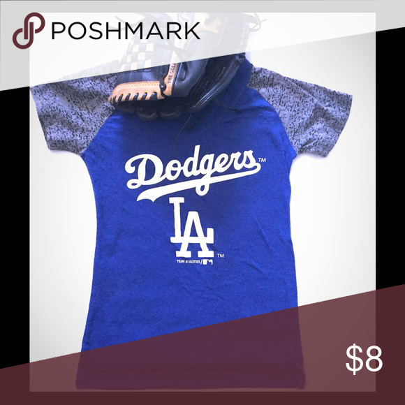 70dd1aee06e Girls team athletics LA dodgers t-shirt Blue dodgers shirt with gray  sleeves with a