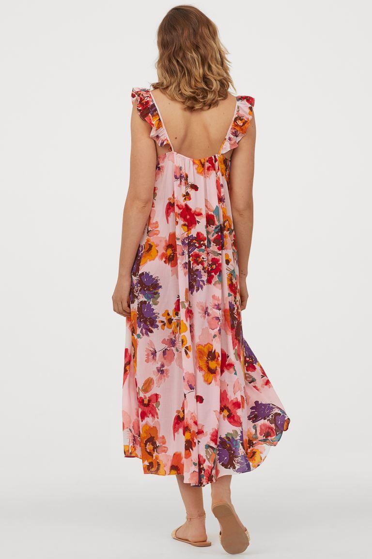 Kleid mit Volant - Hellrosa/Große Blumen - Ladies   H&M DE ...