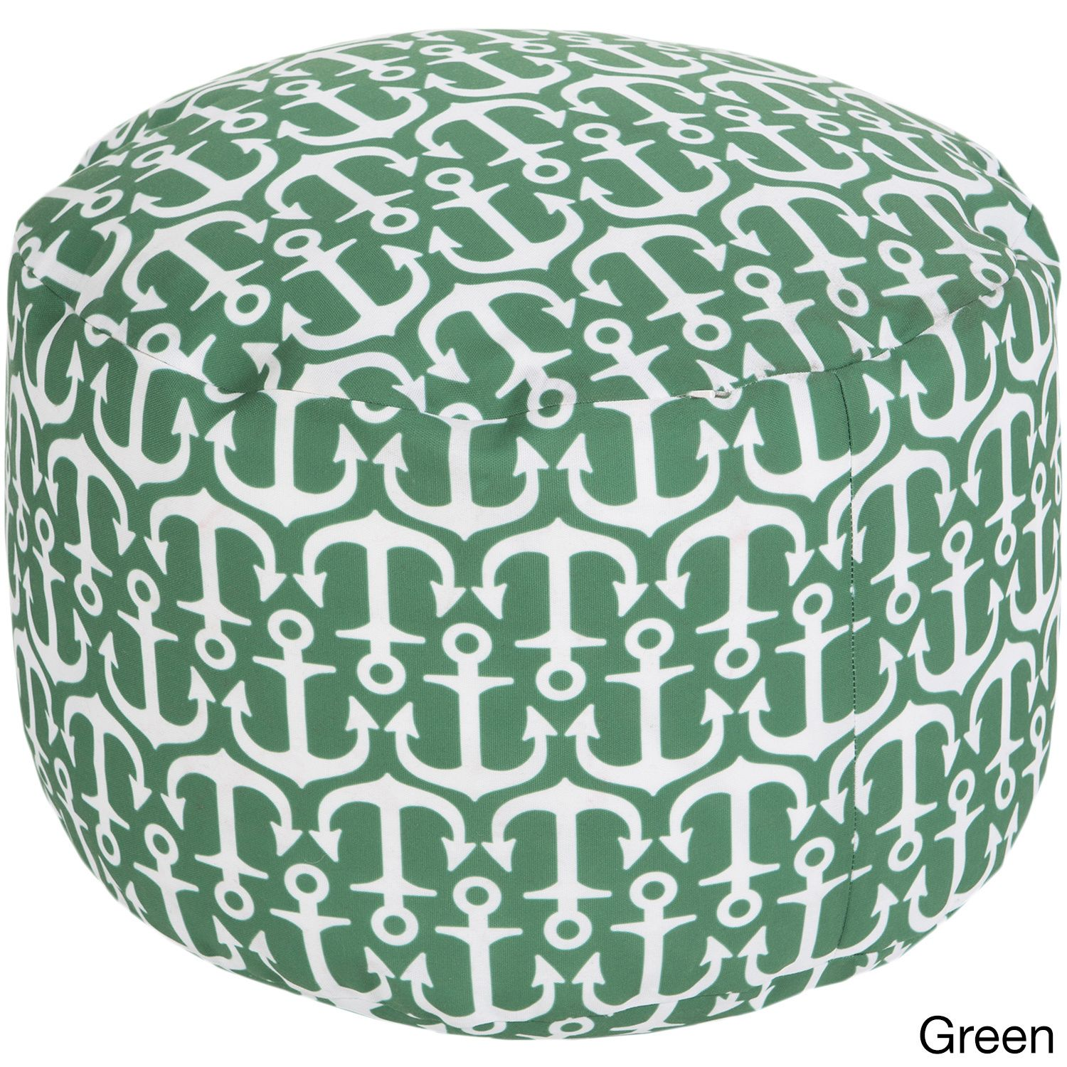 Sea Anchor Outdoor/ Indoor Decorative Cylinder Pouf (Green), Size 18 x 18 (Polyester, Nature)