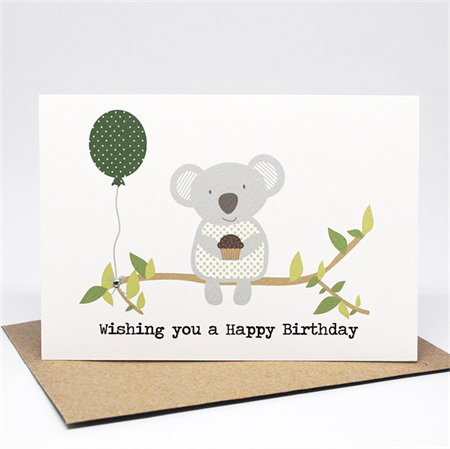 Birthday Card Male Or Female Koala With Balloon And Cupcake Hbf174 Cards Birthday Card Sayings Birthday Cards