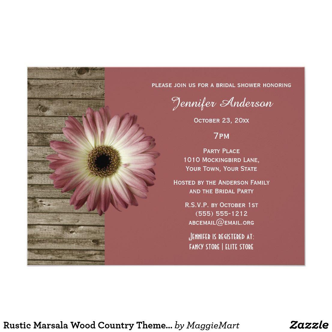 Rustic Marsala Wood Country Theme Bridal Shower Card   Marsala wine ...