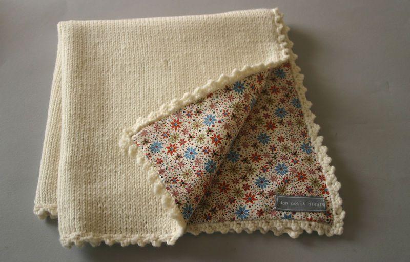 Adorable blanket with Liberty, crochet border