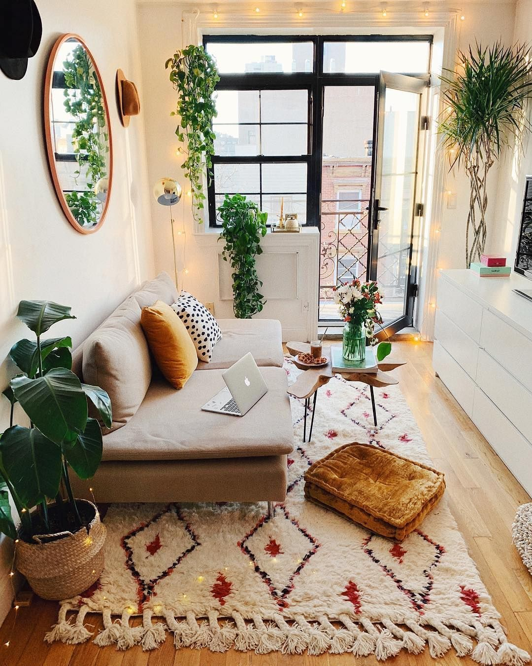 Super Cozy Scandi Inspired Living Room With Bright Textiles Velvet Green Plants And Soft Modern Boho Living Room Interior Design Living Room Boho Living Room