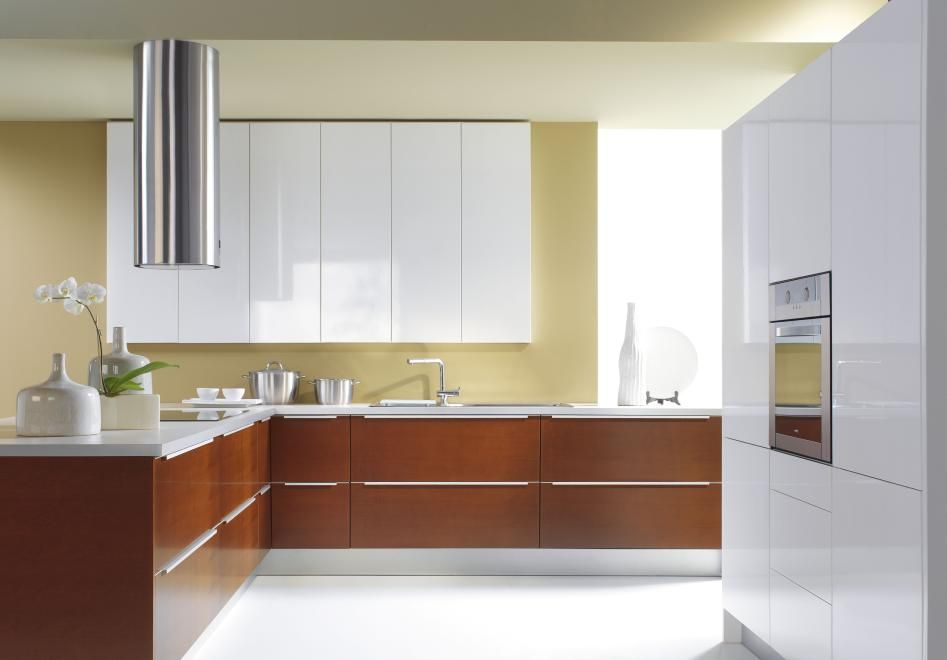 Designer European Kitchens half white and wooden modern kitchen with designer round hood and