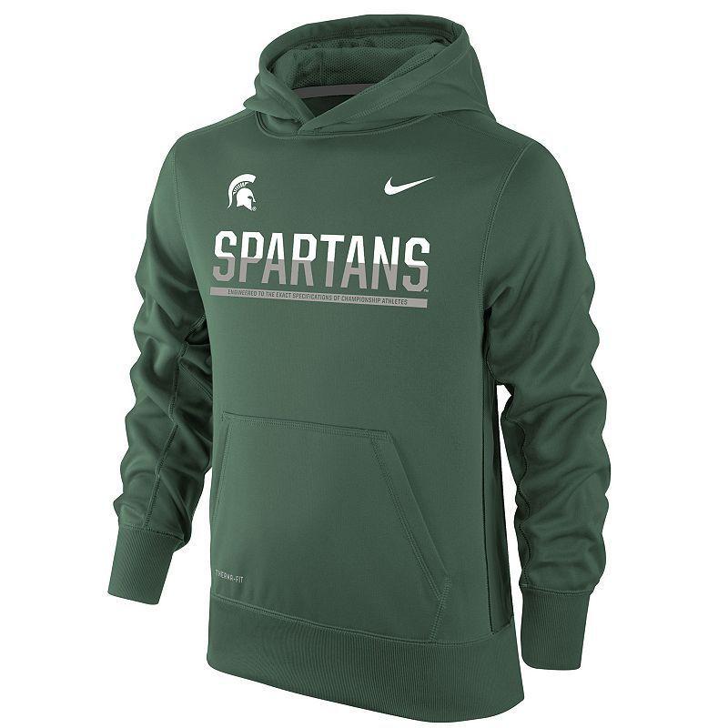 Boys 8-20 Nike Michigan State Spartans Therma-FIT KO Hoodie, Boy's, Size: M(10-12), Dark Green