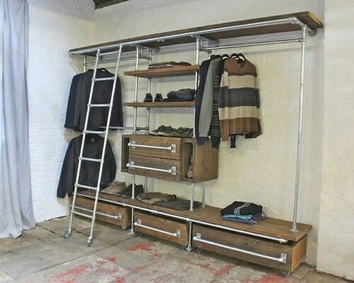 industrial closet design ideas remodels photos closet ideas pinterest schrank. Black Bedroom Furniture Sets. Home Design Ideas