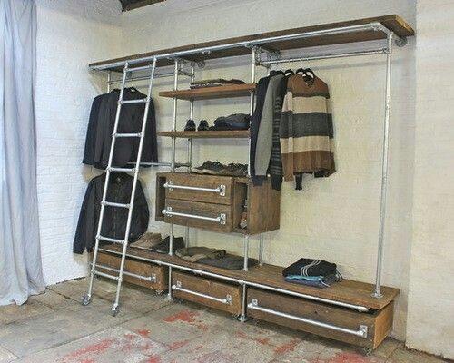 industrial closet design ideas remodels photos pallet ideas pinterest closet open. Black Bedroom Furniture Sets. Home Design Ideas