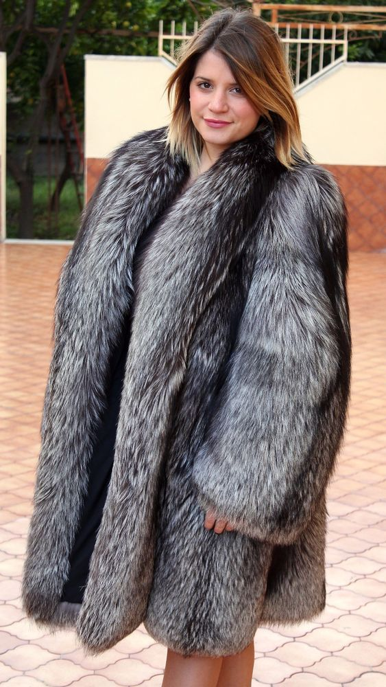 SILVER FOX FUR COAT SILBERFUCHS PELZMANTEL FOURRURE RENARD PELLICCIA VOLPE mex | Clothing, Shoes & Accessories, Women's Clothing, Coats & Jackets | eBay!
