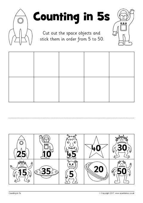 counting in 5s cut and stick worksheets sb12253 sparklebox ritmik saymalar pinterest. Black Bedroom Furniture Sets. Home Design Ideas