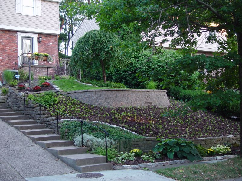 Landscapingfor slopped front yards steep front yard for Garden designs on a slope