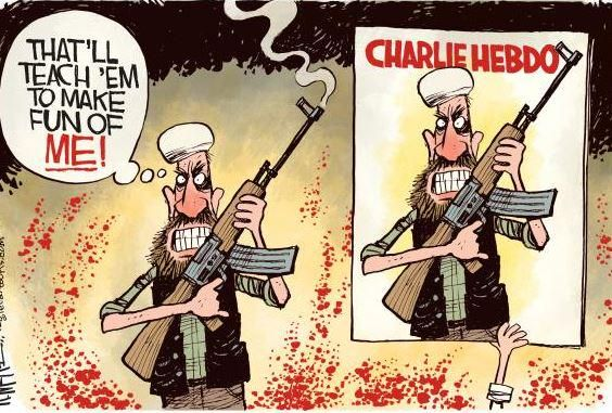 Rick McKee column: How do we respond to attack on #CharlieHebdo?  http://ow.ly/H0N75