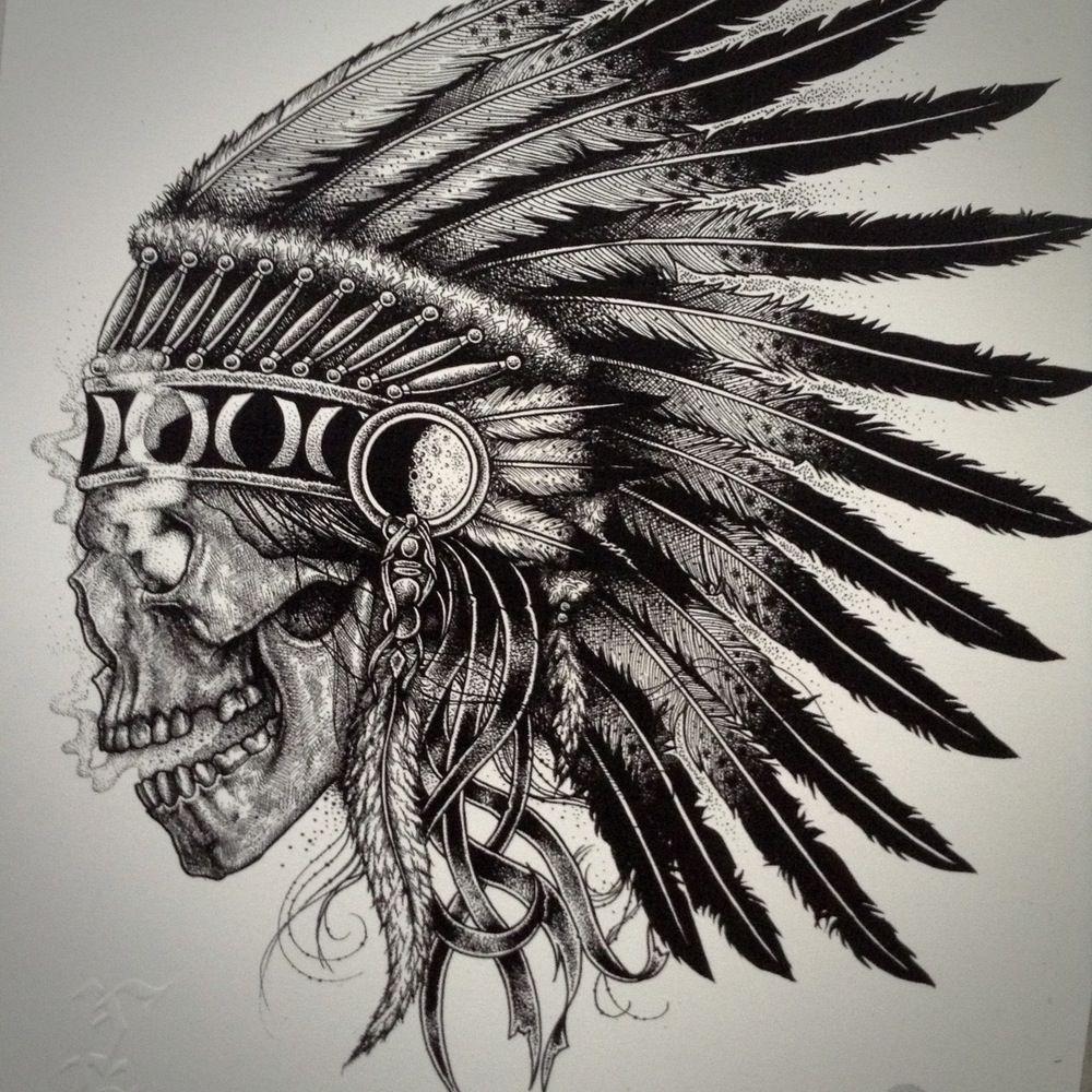 ecb72ddb6 Image of Skull Chief Indian Chief Tattoo, Indian Skull Tattoos, Sugar Skull  Tattoos,
