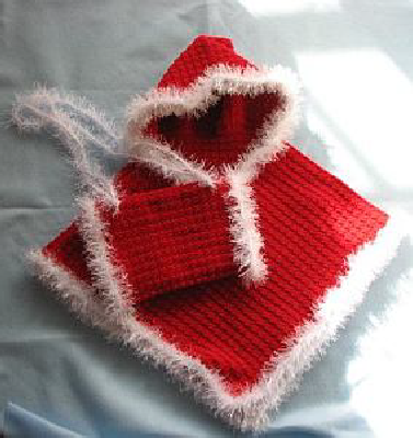 Child's Red Hooded Poncho with Red Fur Trim & Matching Muff Crochet Pattern