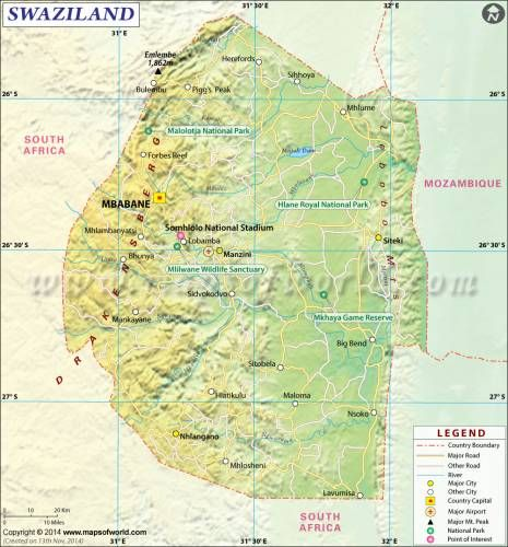 cool Swaziland Map Holidaymapq Pinterest Location map and City