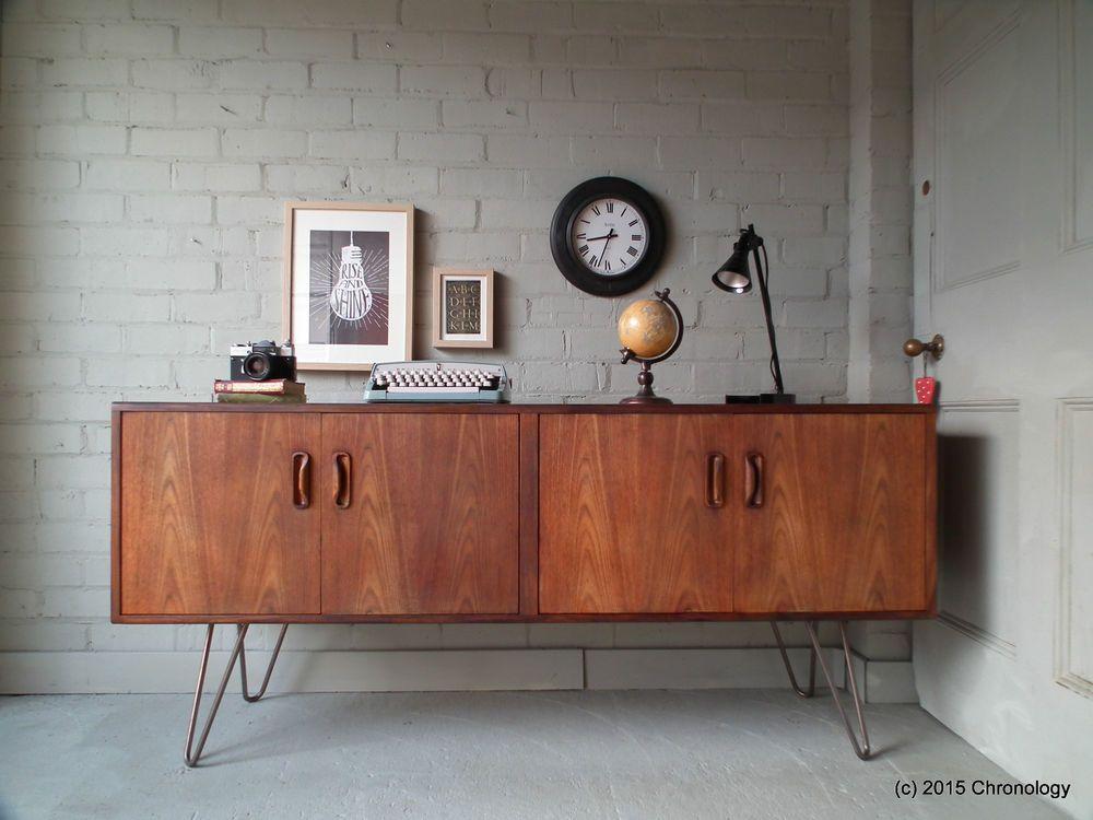 Vintage Retro Teak G Plan Fresco Sideboard 1960s Industrial Hairpin Legs Danish In Antiques Antique Furniture Sideboards Ebay Met Afbeeldingen