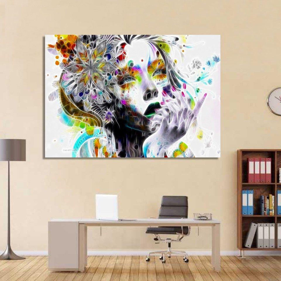Tableau Moderne La Fille Des Fleurs Vous Desirez Acheter Une Decoration Interieur Pour Mettre De La Couleur Et De L Originalite Dans Vot Painting Decor Canvas