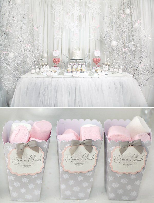 Whimsical Wintery Snow Princess Dessert Table Winter Baby Shower