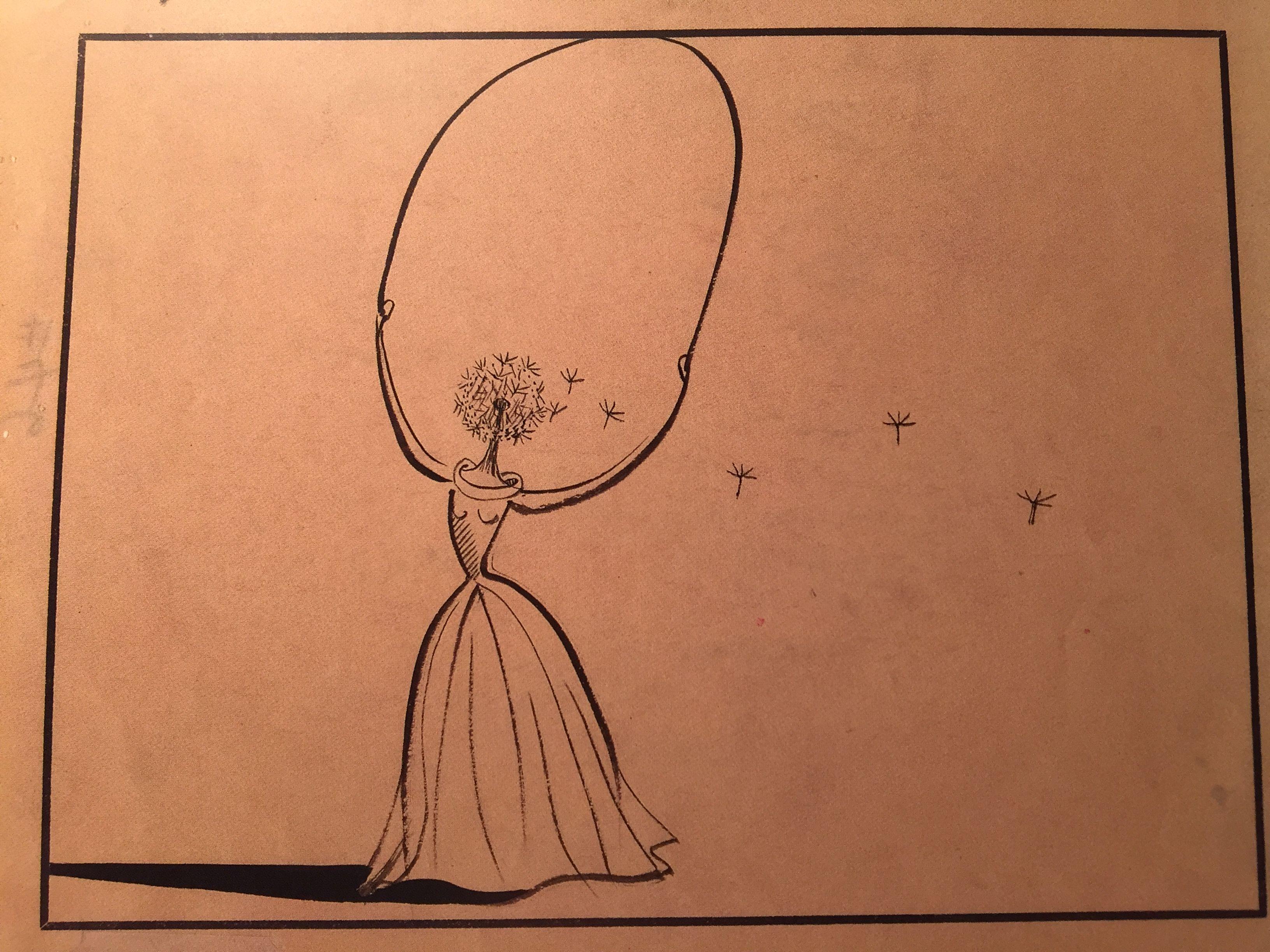 """Disegno per il film Destino, penna e inchiostro su carta, 20x22 cm Gennaio 2011 SALVADOR DALI' Palazzo Reale MI  """"Il sogno si avvina"""""""