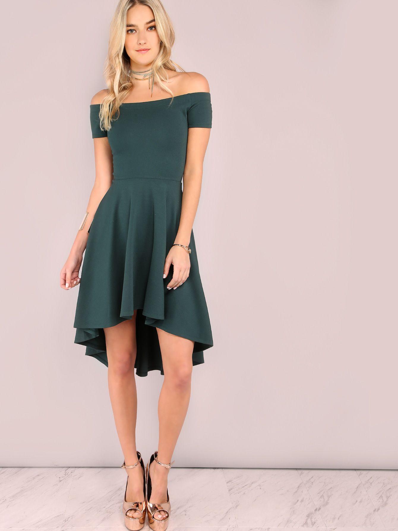 Dark green off the shoulder high low skater dress shein