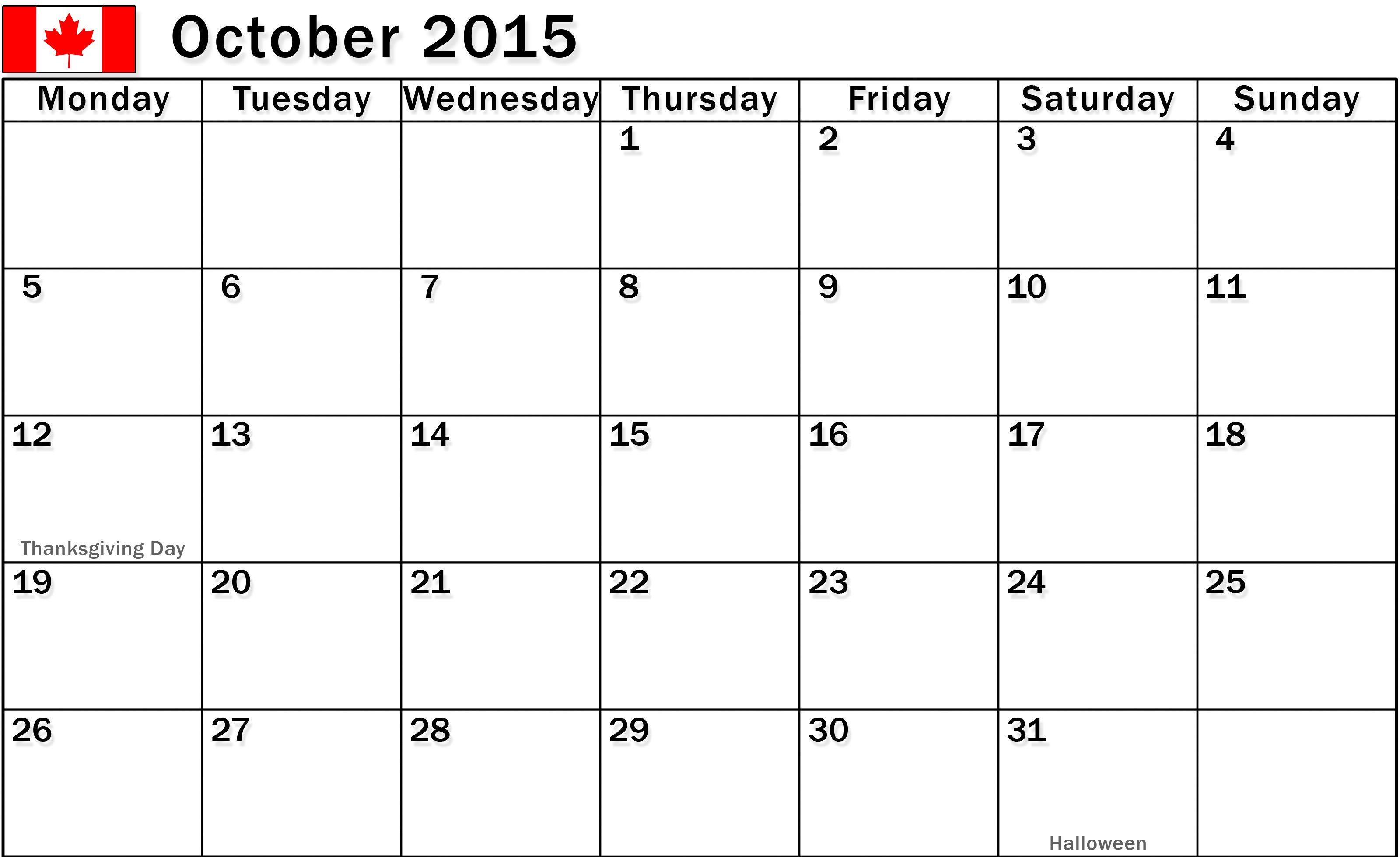 Free Download October 2015 Calendar Canada Pictures