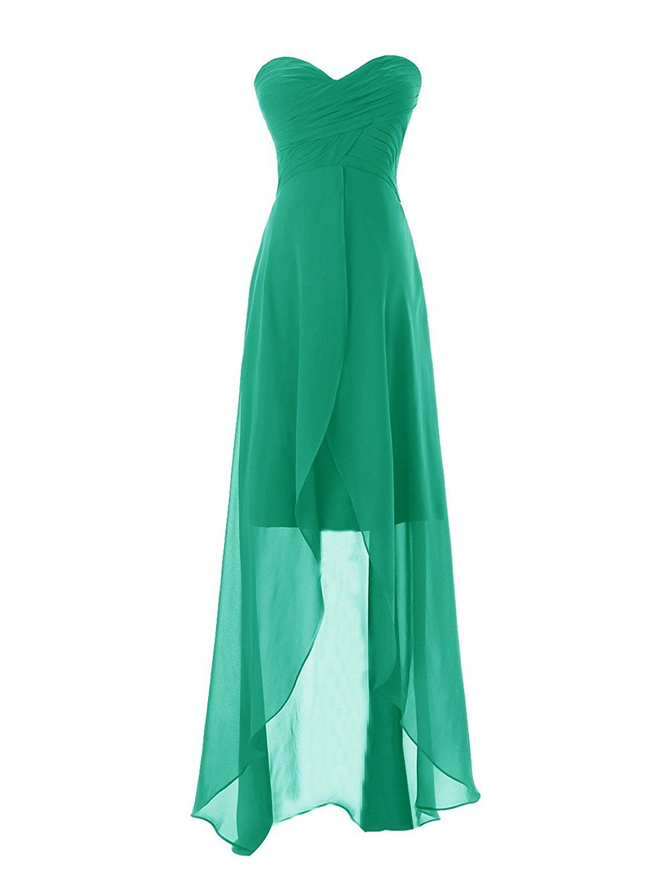 Diyouth long sweetheart chiffon bridesmaid dresses elegant highlow