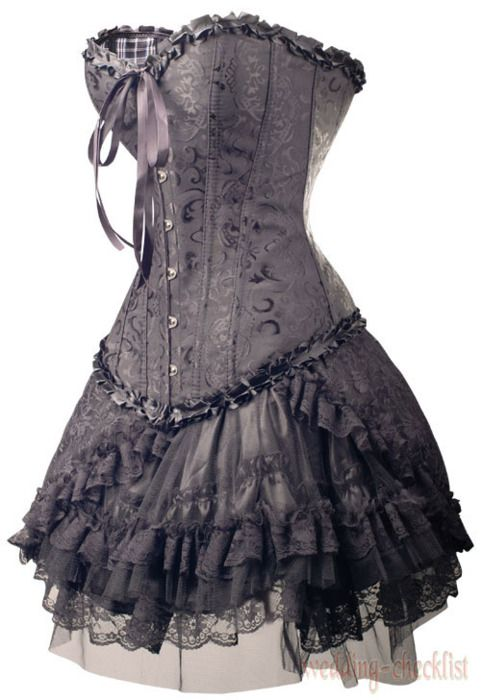 63960015ccd Details about Gothic Black Brocade CORSET Top   Lace Mini Skirt XXXL ...