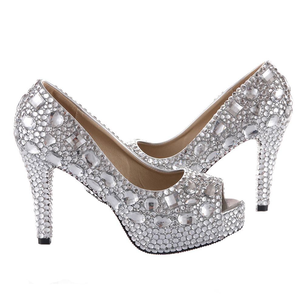 Luxurious Sparkly Silver Rhinestone and Peep Toe Pumps Shoes