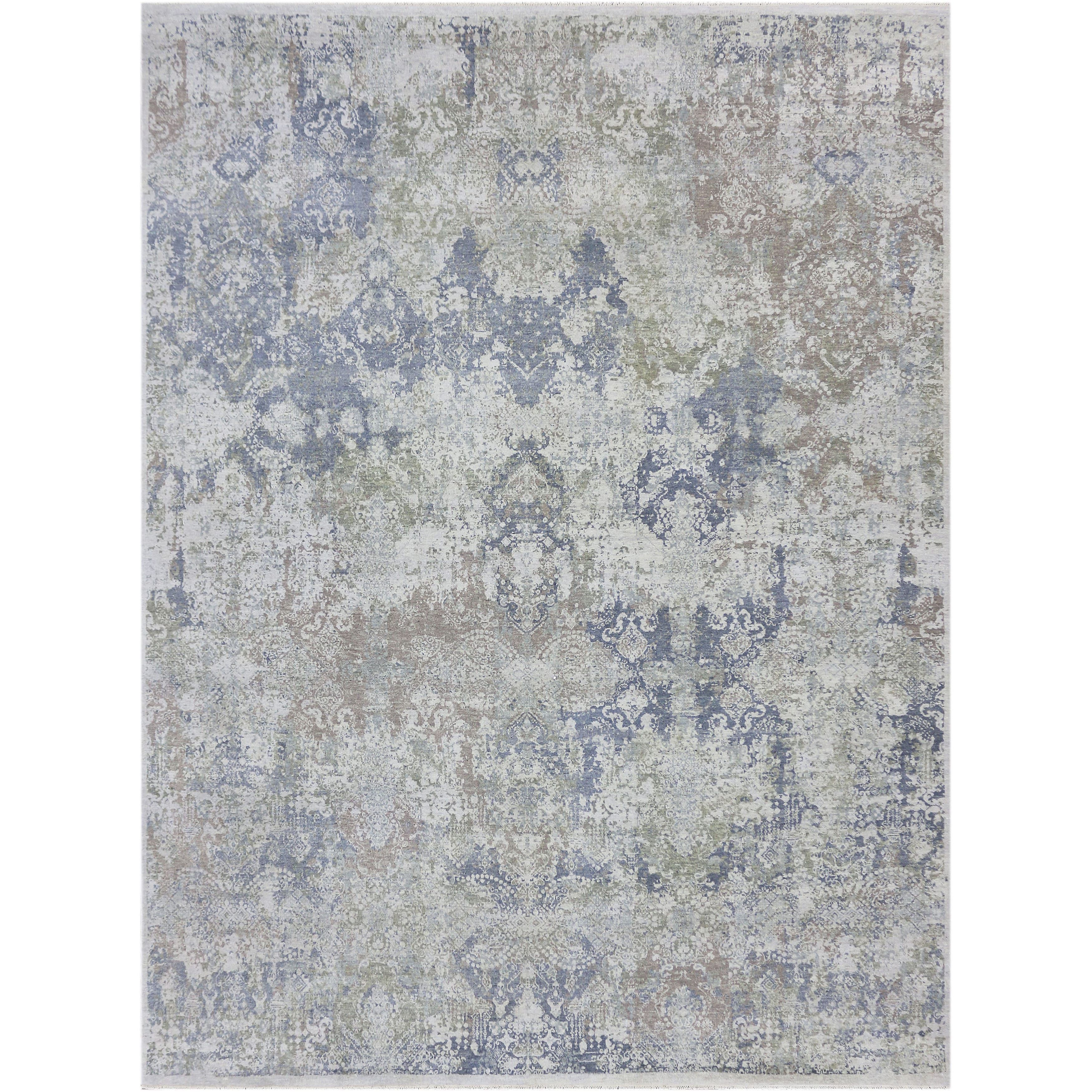 Hand Knotted Abram Mushroom Wool And Silk Area Rug 10 X 14