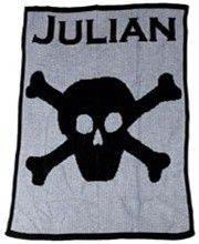 Personalized Blanket with Name and Skull and Crossbone (http://www.butterscotchblankees.com/products/Personalized-Blanket-with-Name-and-Skull-and-Crossbone.html)