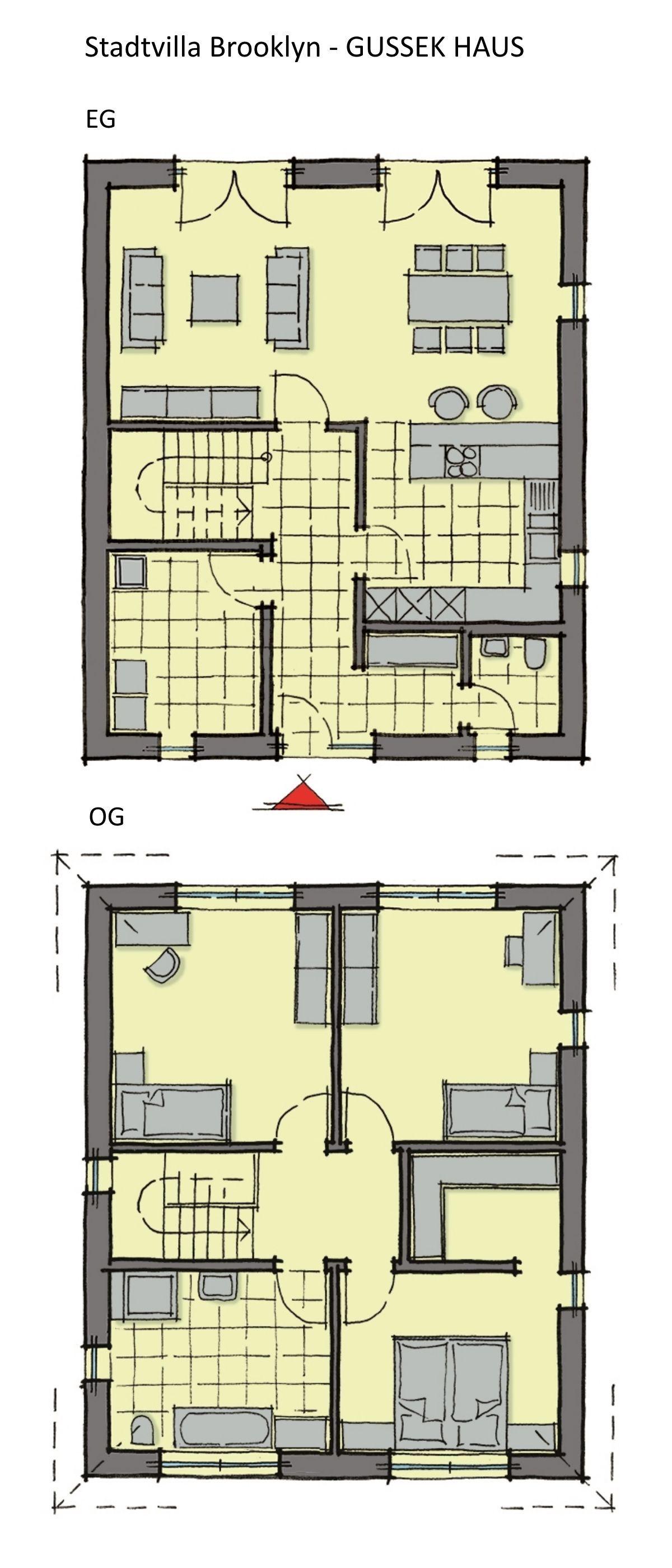 Grundriss Stadtvilla rechteckig mit Walmdach Architektur