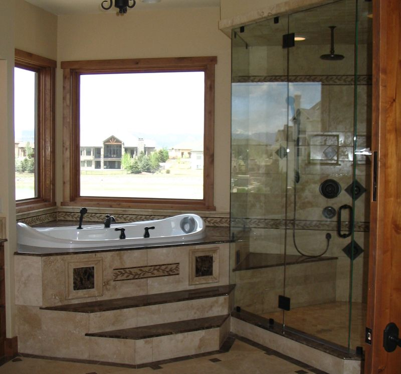Bathroom:Amazing Small Bathroom Design Ideas With White Tub Gorgeous  Bathroom With White Bathtub Beside Picture Windows And Glass Shower Room  Aside Along ...