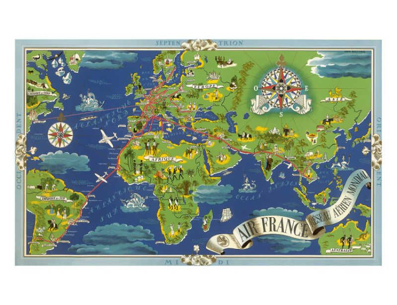 Air France World Map, Flight Routes, c1950 Giclee Print by Lucien - new unique world map poster