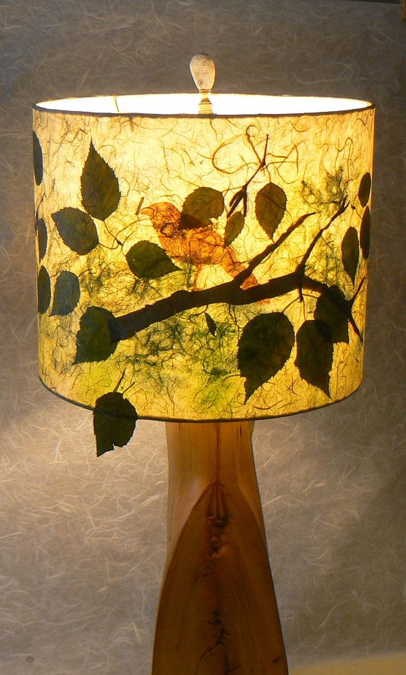 Up in the birches drum lamp shade with pressed leaves and birch bark up in the birches drum lamp shade with pressed leaves and birch bark by liteandshadow mozeypictures Gallery