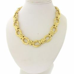 "Tiffany & Co Designer Modern Estate 18k Yellow Gold 17"" Chain Link Necklace 86g"