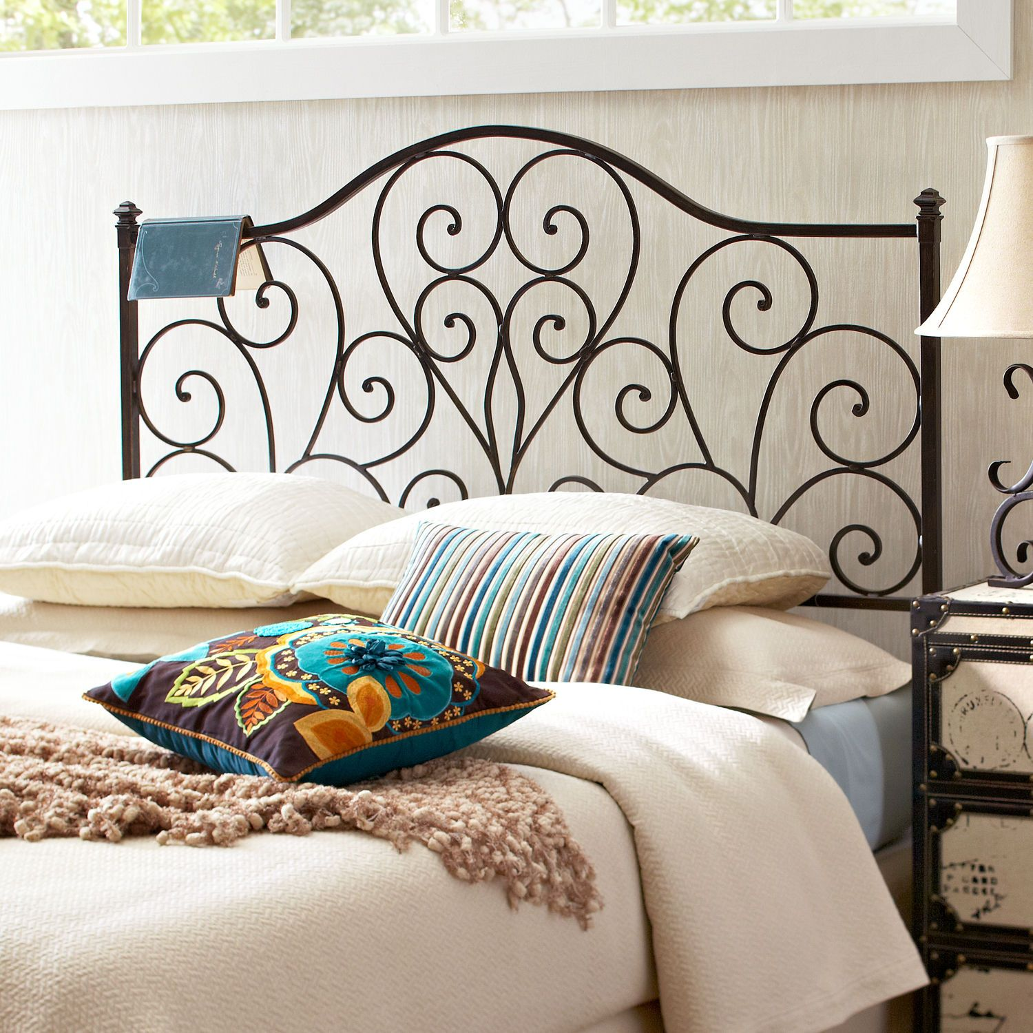Iron Metal Scroll Queen Black Headboard With Images Black
