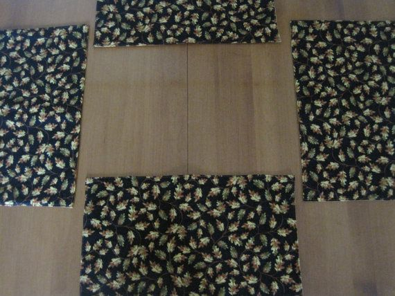 Delightful Place Mats, Padded Place Mats, Quilted Placemats, Reversible Placemats,  Autumn Leaves,