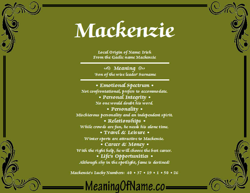 Pin By Cheriti Ridner On Mackenzie Names With Meaning Meant To Be Names