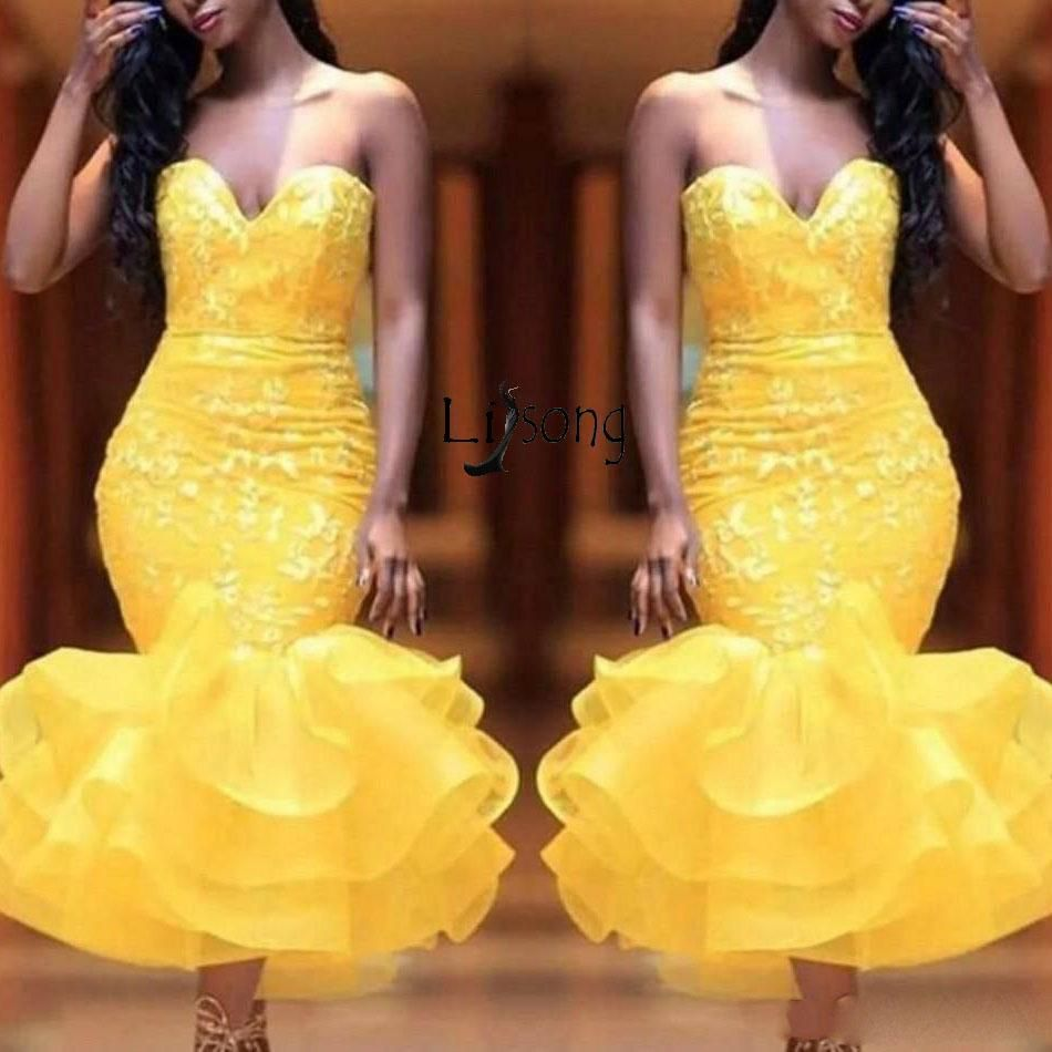 Yellow off shoulder lace ruffles mermaid prom gown dress fashion
