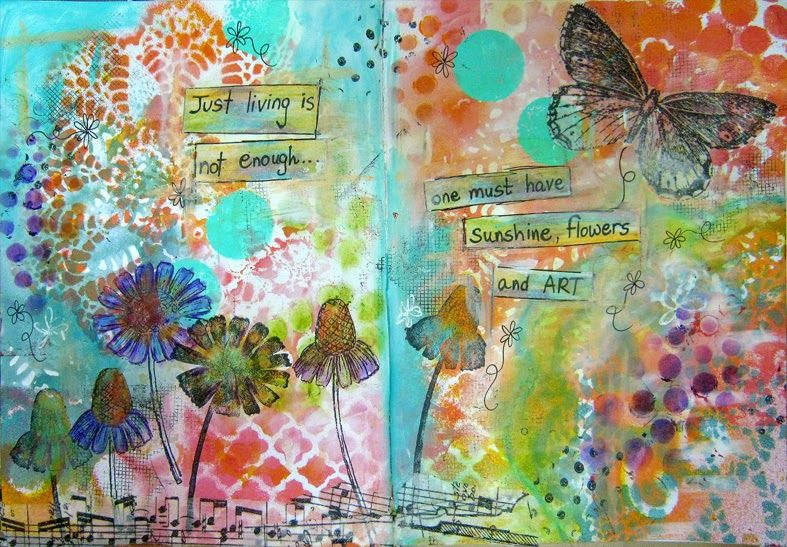 scrappin it: Mixed Media Art Journal Page: Flowers