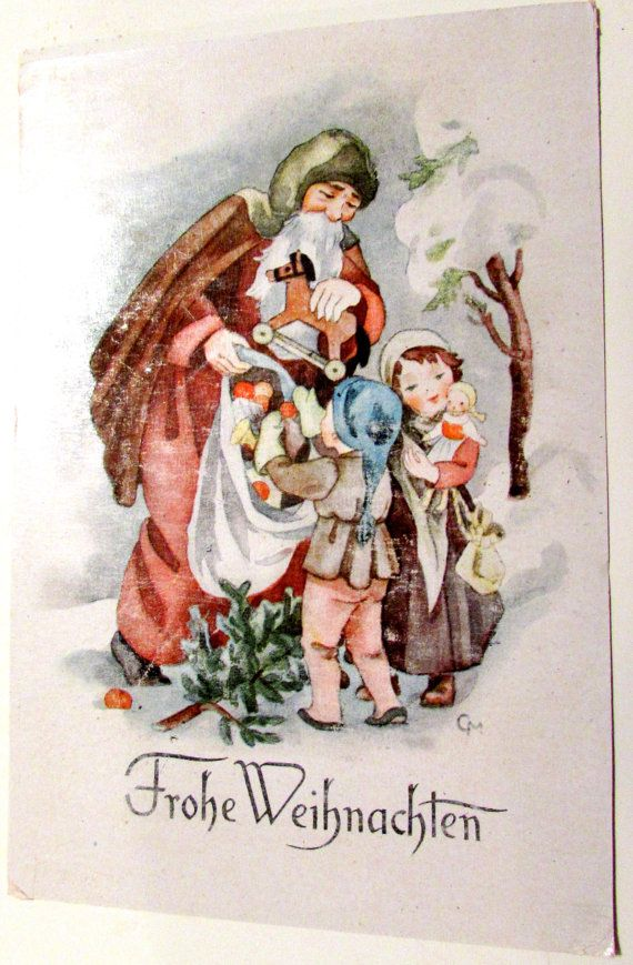 Vintage Christmas Postcard German Old World by PennysPostcards