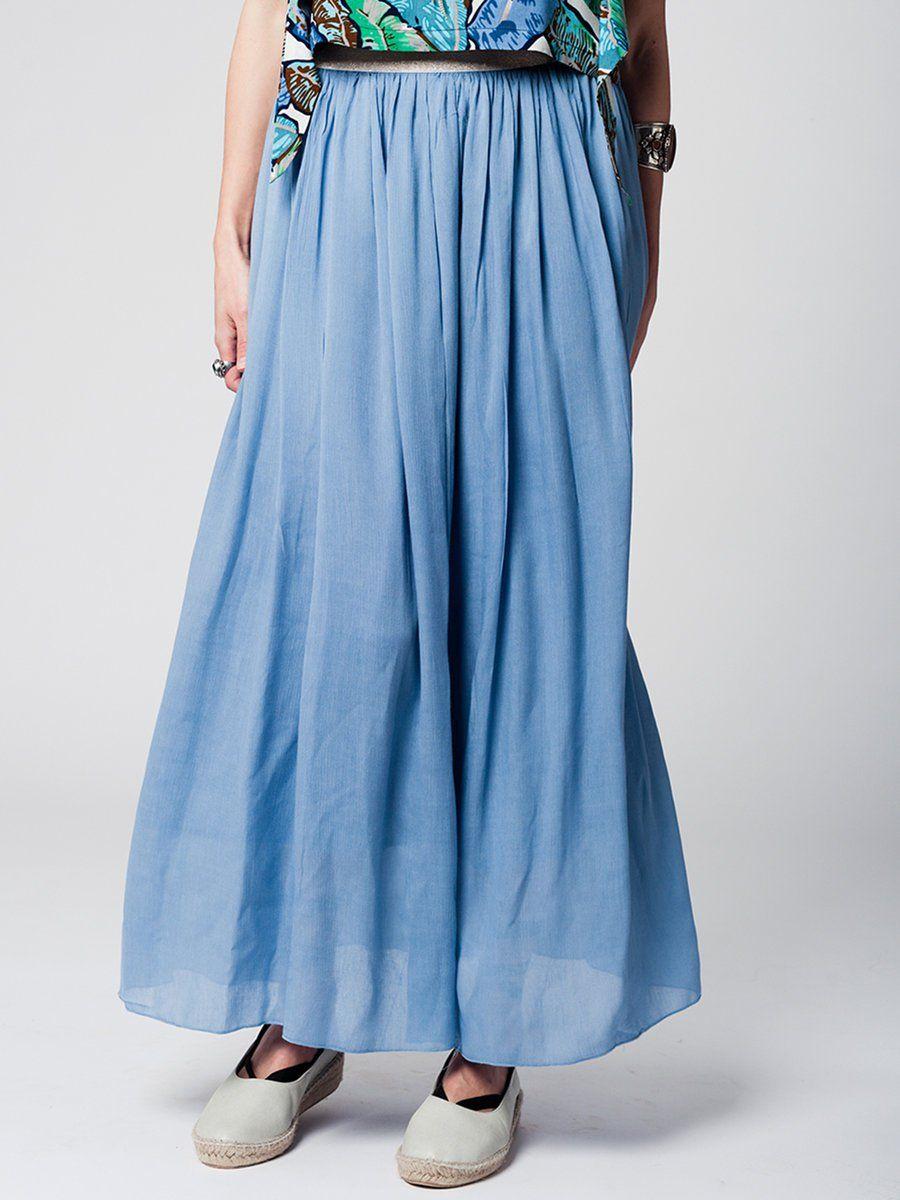 #AdoreWe #StyleWe Maxi Skirts - Designer Q2 Blue Solid Simple Maxi Skirt with Golden Waistband - AdoreWe.com