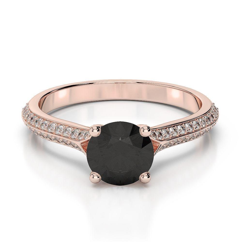 Rose Gold Black Diamond Diamond Engagement Ring AGDR1200 AG