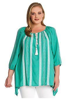 04bc86c510276 Karen Kane Plus Size Embroidered Tassel Tie Blouse