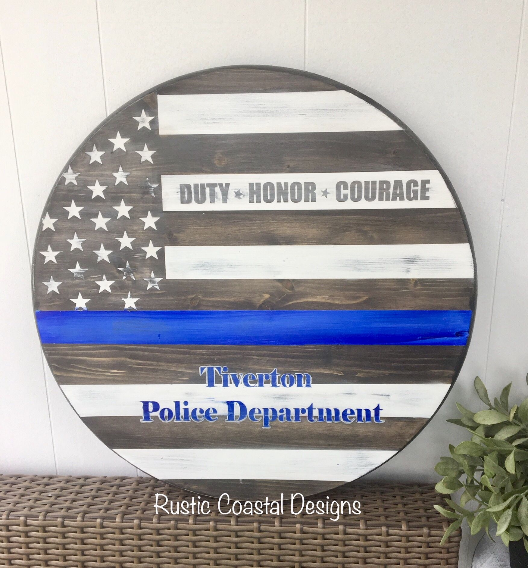 Police Thin Blue Line American Flag Round Wooden Sign Seapaint Wooden Signs Diy Round Wood Sign American Fl In 2021 Round Wood Sign Door Signs Diy Wooden Signs Diy