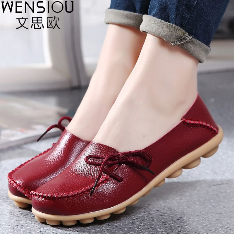 Large Size Leather Women Shoes Flats Mother Shoes Ladies Lace Up Fashion Casual Shoes Comfortable Breathable Women Flats Ayakkabilar Topuklular Bayan Ayakkabi
