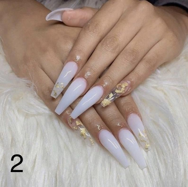 Custom Press On Acrylic Nails Set Of 10 Any Size Shape Gel Polish Comes With Glue Fake Nails Reusable Acrylic Nail Set Ballerina Nails Designs White Acrylic Nails