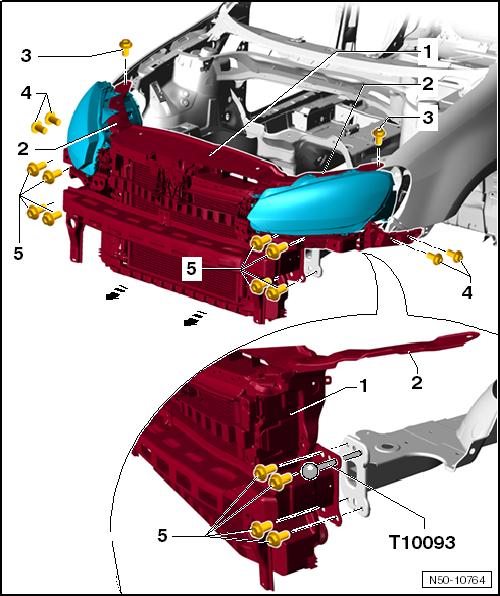 Volkswagen Workshop Manuals Golf Mk6 Body General Body Repairs Exterior Body Front Lock Carrier Service Position Movi Volkswagen Vw Wagon Repair