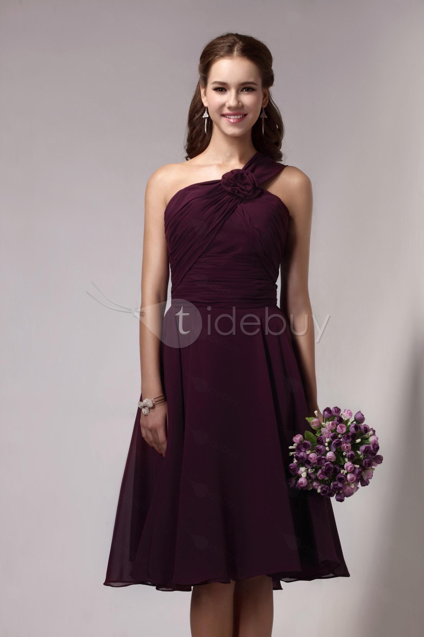Pretty oneshoulder kneelength flower sandraus bridesmaid dress
