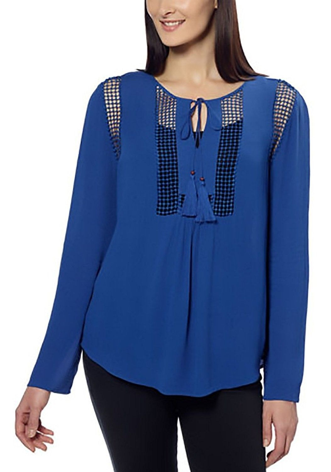 1cb805bb Womens Crinkle Blouse- Deep Sapphire Blue- Medium - CQ12H1WK2A3,Women's  Clothing, Tops & Tees, Blouses & Button-Down Shirts #women #fashion  #clothing ...