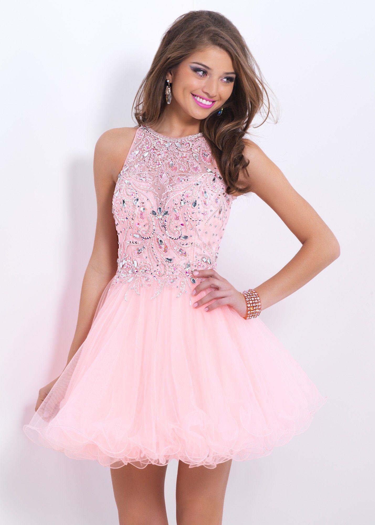 412b86d37573 Blush Prom 9854 Illusion Cocktail Dress | Pretty In Pink | Mini prom ...